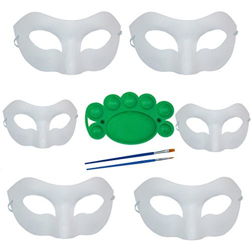 Unisex 6 Pack Set Hard Paper Mask DIY Handmade Mask for Carnival Masquerade with Two Brushes and One Pigment Plate ()