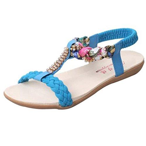 hunpta Women Sandals Elastic Strap Shoes Casual Shoes Sandals Comfort Sandals Blue
