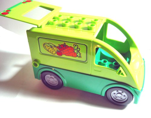 Lego Duplo - Lime Van Truck Bus with Green Base and Vegetables Pattern x1 Loose