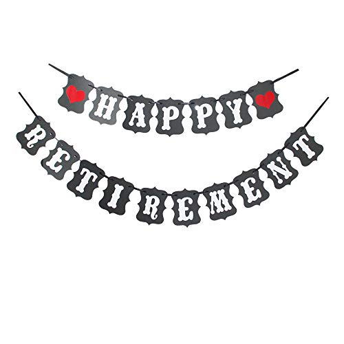 Happy Retirement with Red Heart Banner, Vintage Black