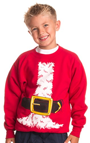 Kid's Santa Claus Costume | Novelty Christmas Sweater, Holiday Child Sweatshirt - (YCrew,S) Red