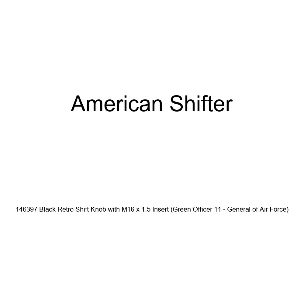 American Shifter 146397 Black Retro Shift Knob with M16 x 1.5 Insert Green Officer 11 - General of Air Force