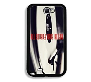 All Stories Have An End Hipster Quote Gramaphone Background Samsung Galaxy Note 2 Note II N7100 Case - Fits Samsung Galaxy Note 2 Note II N7100