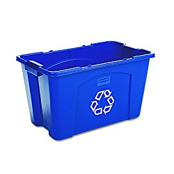 Rubbermaid Commercial Stackable Recycling Bin 18 Gallon Blue Fg571873blue
