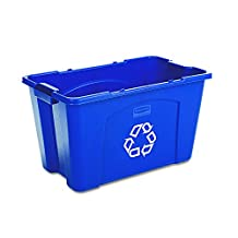 Rubbermaid Commercial Polyethylene 18-Gallon Commercial Stacking Recycle Bin, Rectangular, 16.5-Inch Width x 25.75-Inch Depth x 26.5-Inch Height, Blue
