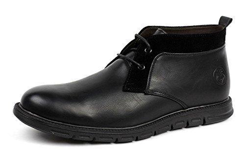 JAS Mode Herren Schnürer Chelsea Knöchel Komfort Retro Stiefel Lässig Elegant Office Schuhe Schwarz