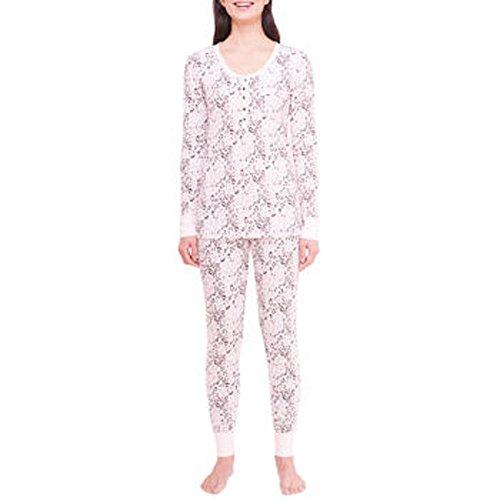 Jane & Bleecker Ladies' 2-Piece Thermal Pajama Set-Pink, XXL - Ladies 2 Piece Thermal