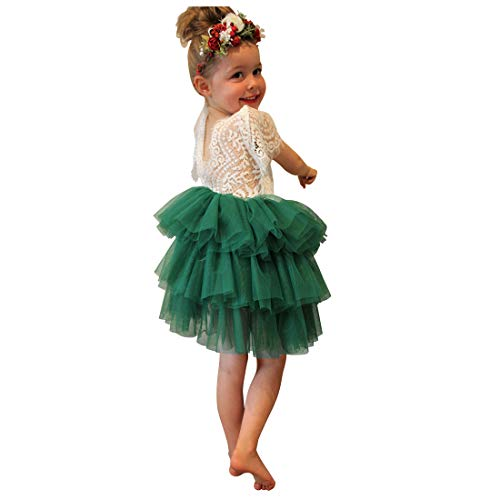 (Lace Back Tutu Tulle Dress Flower Girl Tiered Toddler Kids Backless A-line Princess Party Dresses Green)