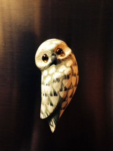 Hand-painted Owl Wooden Refrigerator Magnet