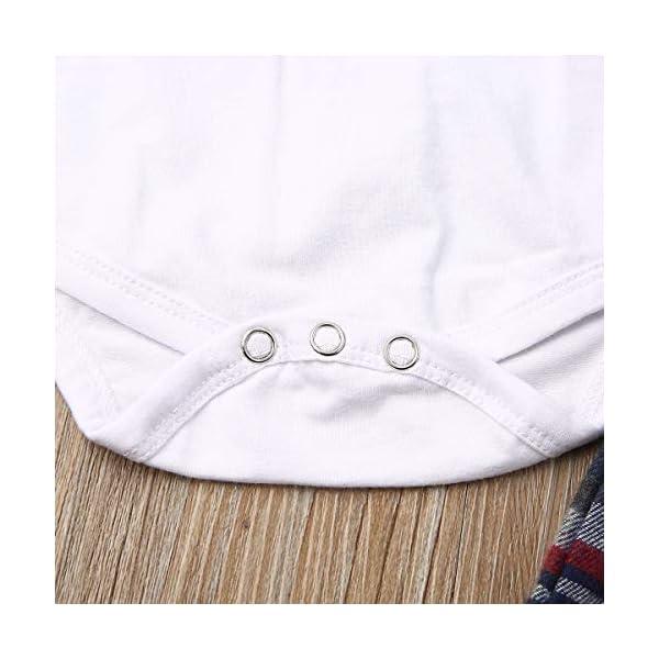 Carolilly 2 Pezzi Completo Neonato Elegante Gentleman Body Pagliaccetto Manica Lunga +Pantaloni con Bretelle Scozzesi… 6