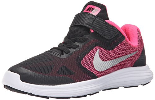 (NIKE Kids' Revolution 3 Running Shoe (PSV), Black/Metallic Silver/Hyper Pink/White, 13.5 M US Little Kid)