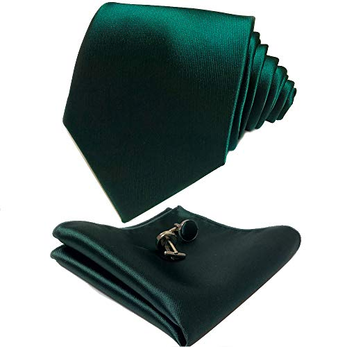- CANGRON Men Forest Green Tie Set Necktie with Pocket Square Cufflinks Giftbox LSC8SL