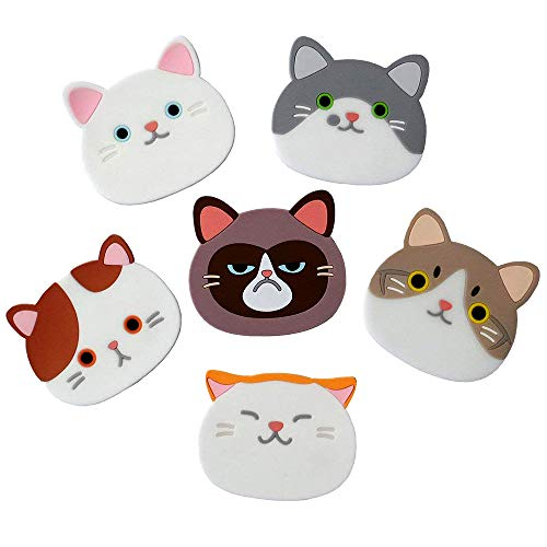 Fengus 6 Pcs Cat Coasters Silicone Cat Cup Holders Insulated Heat-Resistant Coasters Mats Non-Slip Cup Pads for Wine,Glass,Tea,Coffee - Blue Cat Agate