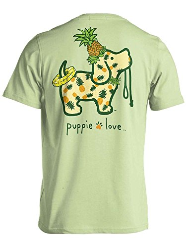 (Puppie Love Rescue Dog Adult Unisex Short Sleeve Cotton T-Shirt, Pineapple Pup (Small, Mint))