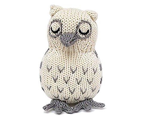 Estella Hand Knit Soft Organic Cotton Baby Rattle Toy, Owl