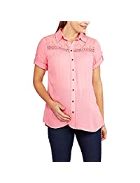 Oh! Mamma Maternity Lace Trim Button Up Shirt