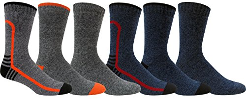 Grey Wolf Men's Heavyweight Thermal Comfort Hiker Crew Length Sock Size 10-13 (Assortment #2)