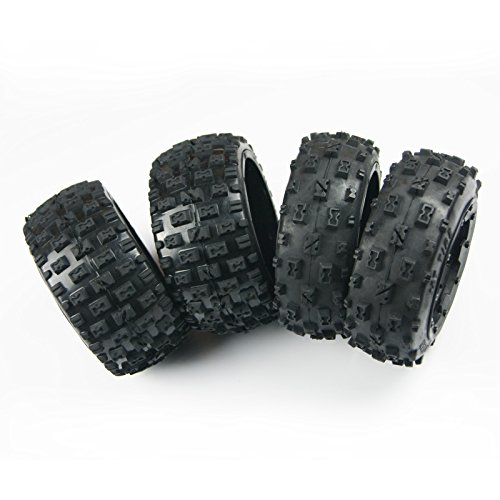 (XmaxRc Knobby Tire Front Rear 6 Spoke Wheel fit 1:5 HPI Rovan Baja 5B SS KM Buggy )