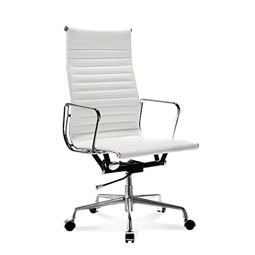 Artis Decor Ribbed Low and High Back Executive Office Chair Made with Upholstered Genuine Italian Leather, Swivel and Polished Aluminium Frame - High-Back White)