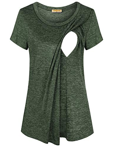 f013129408999 Baikea Women's Short Sleeve Layered Nursing Tops Maternity Breastfeeding  Tunic Olive Green