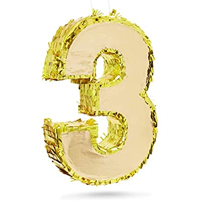Juvale Number 3 Gold Foil Party Pinata for Third Birthday, Centerpiece Decoration, 15.5 x 10.5 x 3 Inches: Toys & Games