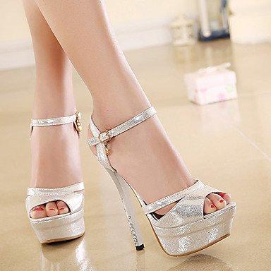 LvYuan sandalias de primavera y verano los zapatos del club caída de oficina sintética&parte de carrera&vestido de noche hebilla de oro Gold
