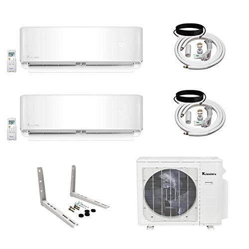 (Klimaire 2-Zone (12K BTU + 12K BTU) 21 SEER Ductless Multi-Zone Inverter Air Conditioner Heat Pump with 15 Ft Installation Kits)