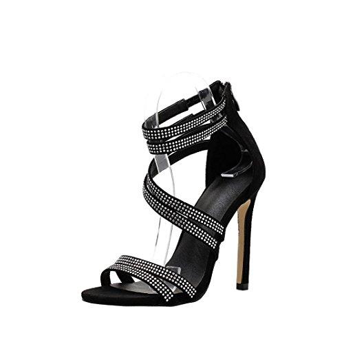 Principiantes Aguja Noche Interior Negro de Tacón Mujer Gusspower para Zapatos Zapatillas Baile de Profesional Latinos para de Zapatos Sandalia de Baile Hebilla Encaje 11 y 5CM de Fiesta qvqwx6S1p