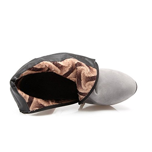 Ei&iLI Bottes femmes talons hauts cheville bottines simili cuir extérieur / bureau & carrière / occasionnel , gray , 34