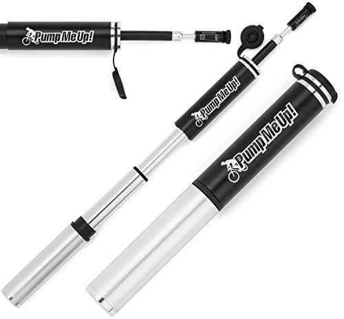 Bike Pump - Premium Compact Portable Mini Bicycle Hand Pump With Hidden Flexible Hose - Never Damage Another Tire Valve - Presta & Schrader Valve Compatible - Cycling Frame Mounting Kit Included