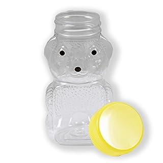 RetroPak PB06W24RP 24 Count Plastic Panel Honey Bear with Yellow Caps, 6-Ounce