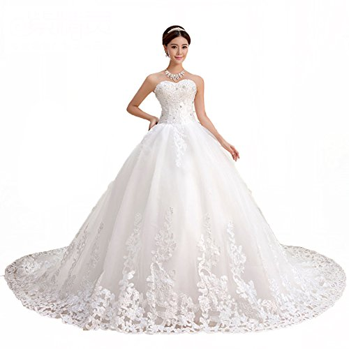 KingBridal Sweetheart Lace Chapel Train Ball Gown Wedding Dress (16, White) Chapel Train Wedding Dress