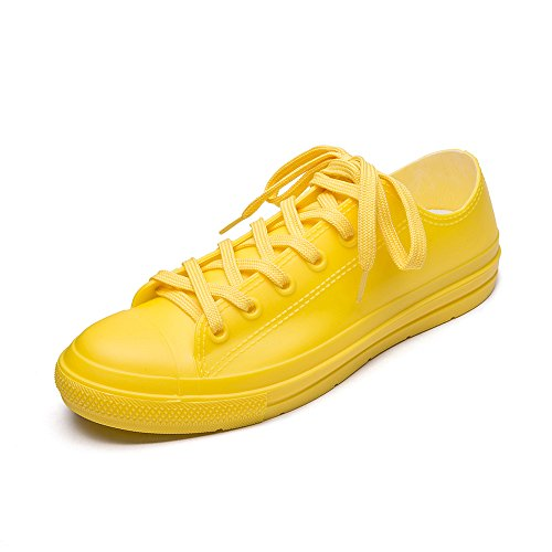 (DKSUKO Casual Rain Shoes Women Waterproof Sneakers with Shoelace Tenis Feminino Flat Shoes Color 9 (11 B(M))