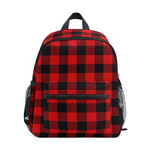 Backpack Rustic Black Red Buffalo Check Plaid Pattern Print School Bags Boy Girl