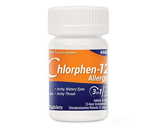 Chlorphen-12 Allergy 100 Count Chlorpheniramine Maleate 12 mg (New Brand that is FDA-Approved Therapeutic Equivalent to Chlor-Trimeton 12 Hour)