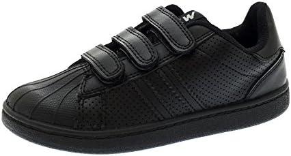 Strong Souls Boys Black Leather Hook /& Loop School Shoes