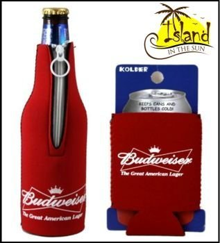 (2) Budweiser Bow Tie Beer Can & Bottle Koozie Cooler ()