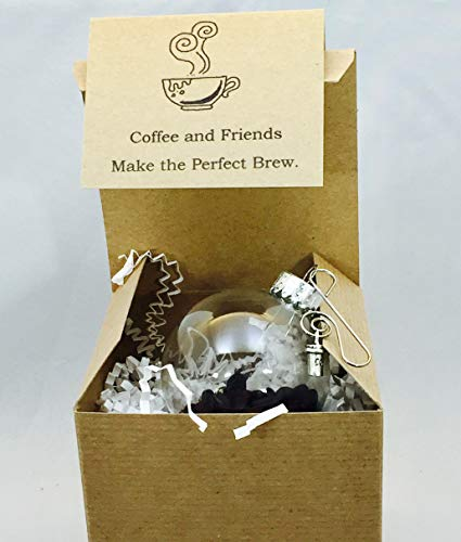 - Coffee Bean and Coffee Cup Mug Charm Glass Globe Ornament Gift card and box included by Dorinta