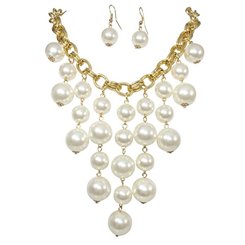(Gypsy Jewels Cascading Simulated Pearl Beaded Gold Tone Statement Necklace)