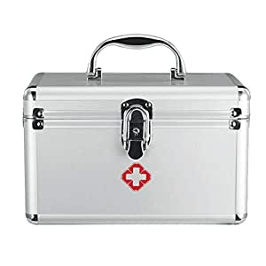 Medicine Box Aluminum Alloy L24.5*W15*H16CM Household Medicine Box Medicine outpatient First aid Medical Box Storage Box (Color : Silver, Size : L24.5*W15*H16CM)