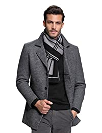RIONA Men's Merino Wool Knitted Scarf - Soft Warm Cashmere Feel Neckwear with Gift Box