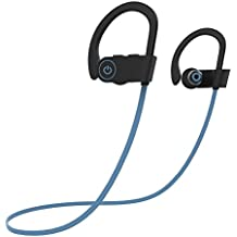 Bluetooth Headphones,Geman Best Wireless Sports Earphones with Mic & Siri Over Ear IPX7 Waterproof HD Stereo Sweatproof Earbuds for Gym Running Walkout 8Hours (blue)