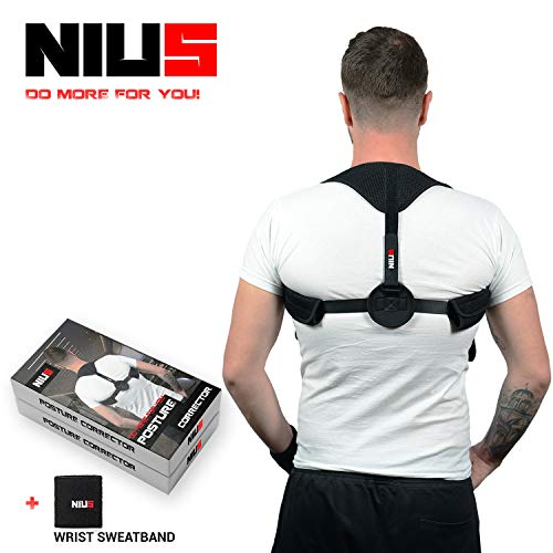 NIUS Back Posture Corrector for Women & Men - Comfortable Posture Brace with Fast Results for Back, Neck Pain Relief - Clavicle Support Corrector, Great to Improve Bad Posture