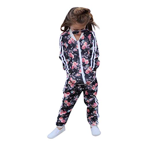 (Toddler Baby Kids Girl Floral Printed Sweatshirt Pullover Tops Pants Set Clothes Casual Bodysuit Playsuit)