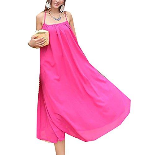 Dress Maxi Red Rose Women's Jaycargogo Dress Long Spaghetti Strap wzYq1BO