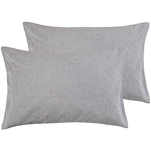 NTBAY Queen Size Pillowcases Set of 2, 100% Stone Washed Cotton, Reduces Allergies and Respiratory Irritation, Vintage Style, Breathable, Grey