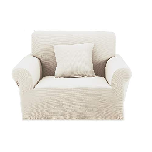 Premium Knit Armchair Slipcover Elastic Cover for Chair Cream White