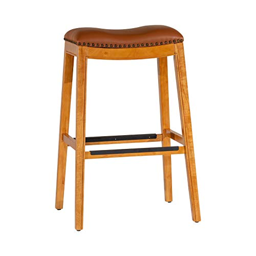 "(DTY Indoor Living Montrose Bonded Leather Saddle Stool, Natural Finish, 30"" Bar Stool - Big Sale!!)"