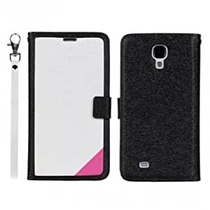 Silk Printing Wallet Leather Case For Samsung Galaxy S4 i9500 --- Color:Black