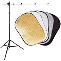 CowboyStudio Complete Reflector System with 40-Inch x 60-Inch 5 in 1 Photo Studio Reflector Panel, Reflector Arm Holder and Light Stand